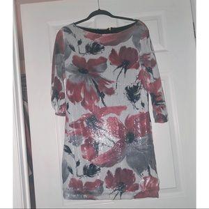 Zara sequin floral shift dress